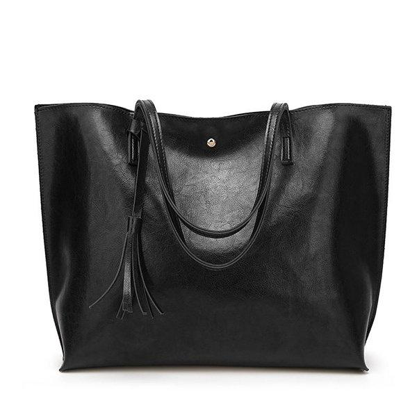 Women Casual Large Capacity PU Leather Handbag Classic Tote