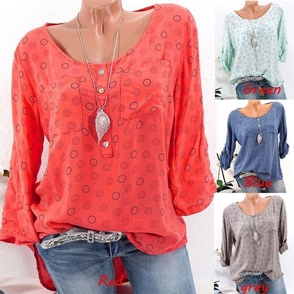 Women Plus Size Crew Neck Pocket Casual Printed Blouse