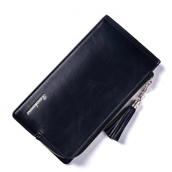 Women PU Leather Tassel Card Holders Zipper Phone Bags