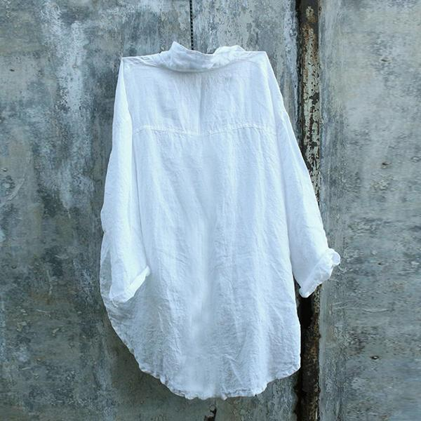 Casual V Neck Asymmetrical Buttoned Blouses