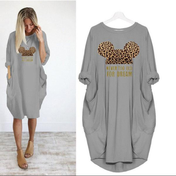Loose Casual Plus Size Autumn Leopard Print Long Sleeve Women's Dress