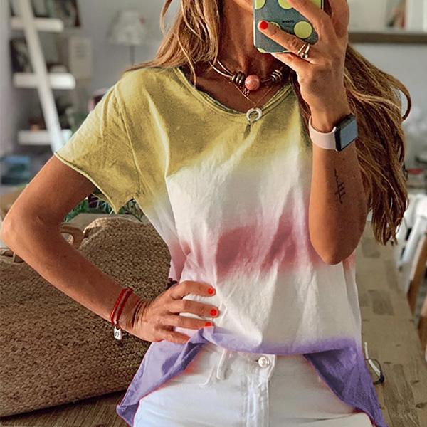 Fashion Gradient Rainbow Short Sleeved Women's Blouse