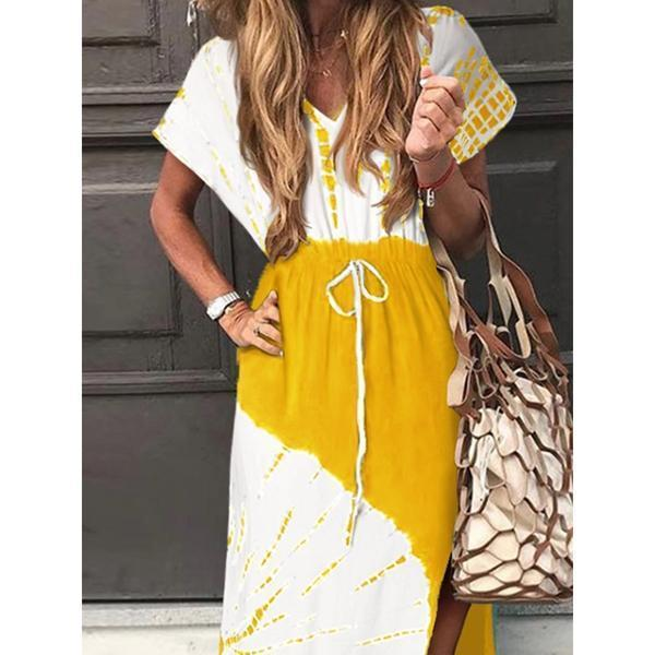 V-Neck Printed Slit Lace Dress