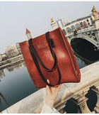 Women Large Capacity Tote Handbag Solid Vintage Faux Leather Shoulder Bag