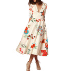 Women's Sexy V-Neck Half Sleeve Printed Skater Dress