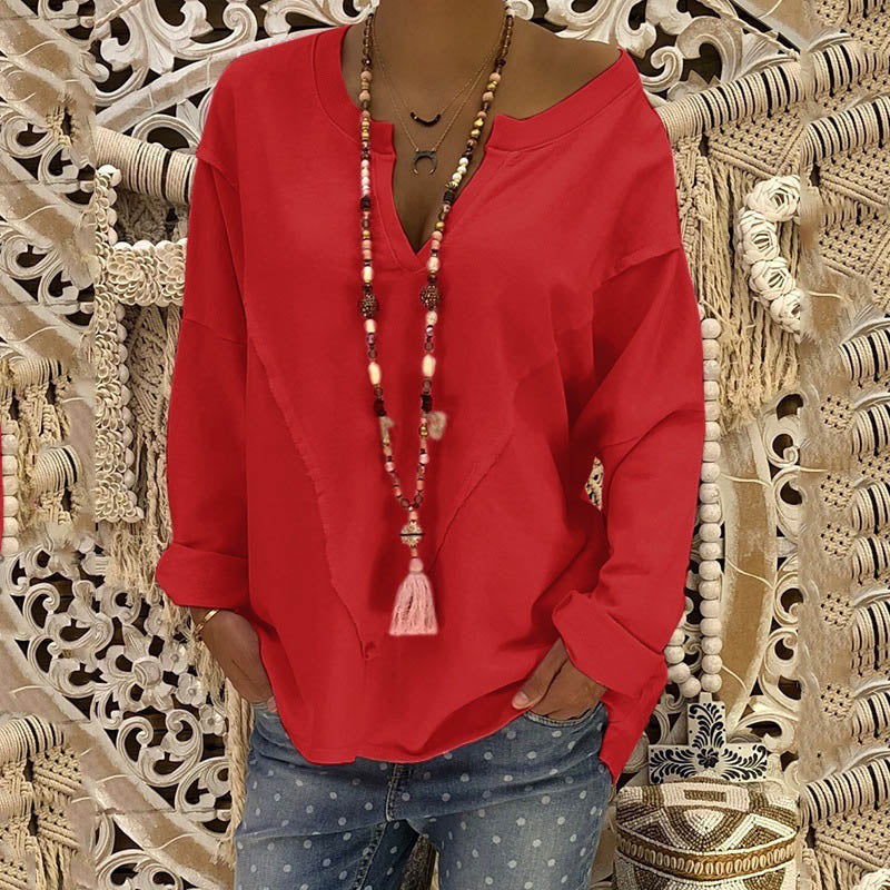 Loose Long Sleeve V-neck Spliced Shirt Pullover