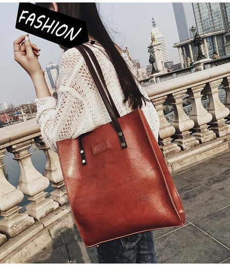 51796721adc8 Women Large Capacity Tote Handbag Solid Vintage Faux Leather Shoulder Bag