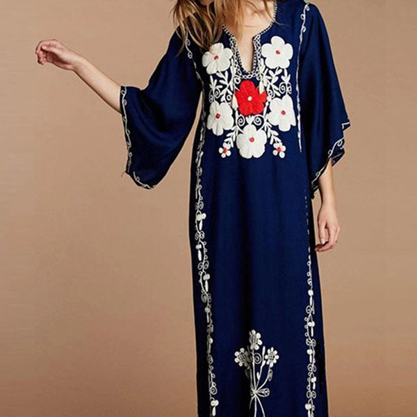 V Neck Cotton Floral Half Sleeve Embroidery Maxi Dresses