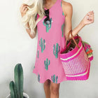 Casual Cactus Printed Sleeveless Dress