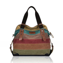 Stripe Canvas Contrast Color Multi-pocket  Crossbody Bag
