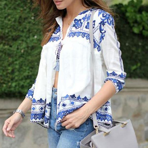 Bohemian Loose Print long-sleeved Cardigan Blouses