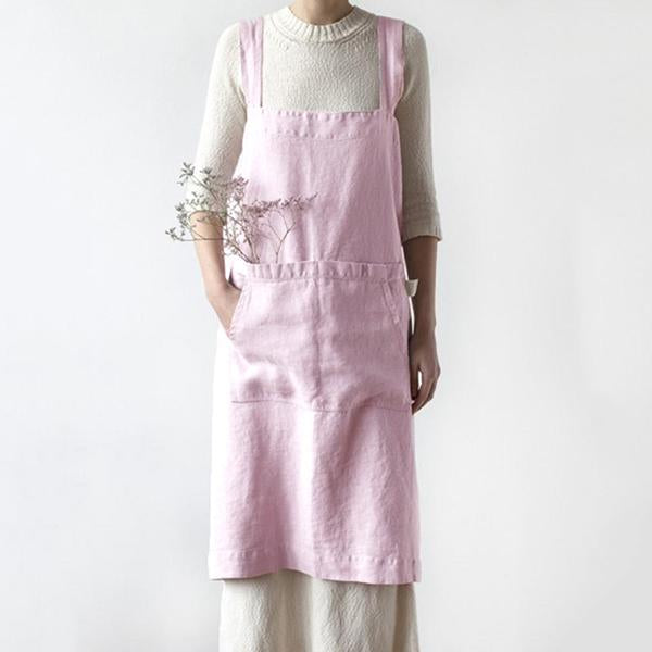 Casual Sleeveless Cross Back Solid Apron Dress