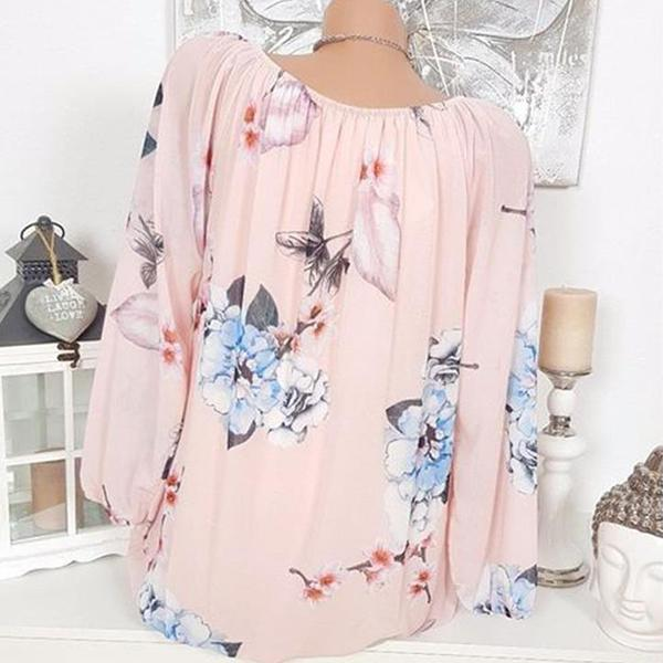 Flower Printing Casual Blouse