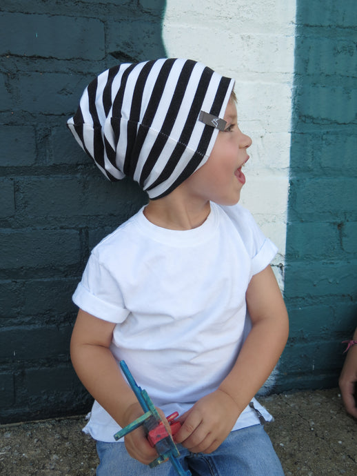 Black & White Striped Beanie