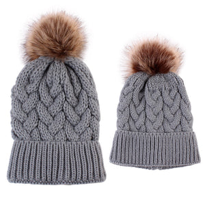 """Mommy & Me"" Matching Knitted Beanie - Grey"