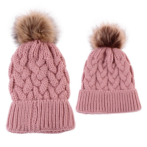 """Mommy & Me"" Matching Knitted Beanie - Pink"