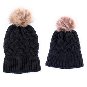 """Mommy & Me"" Matching Knitted Beanie - Black"