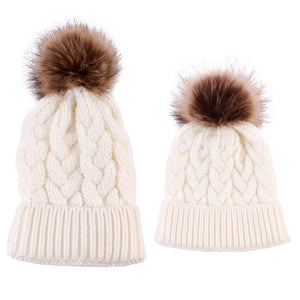"""Mommy & Me"" Matching Knitted Beanie - White"