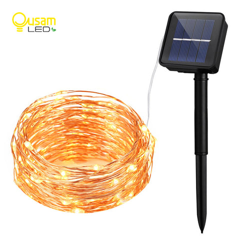 Solar String Lights 10M 100 LED Copper Wire String Fairy Lights ...