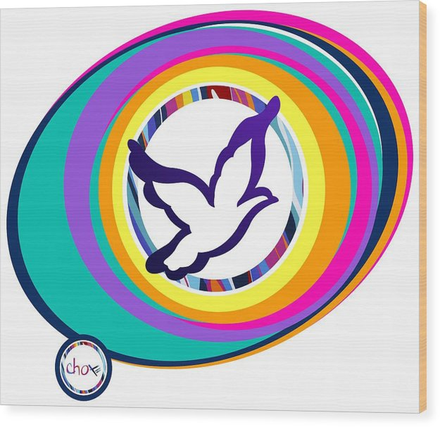 Psychedelic Dove Vortex - Wood Print