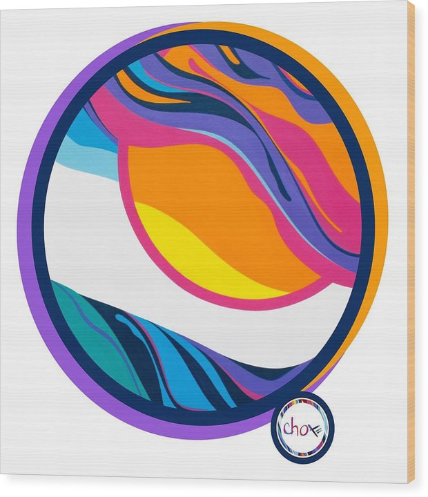 Abstract Sunset Circle - Wood Print