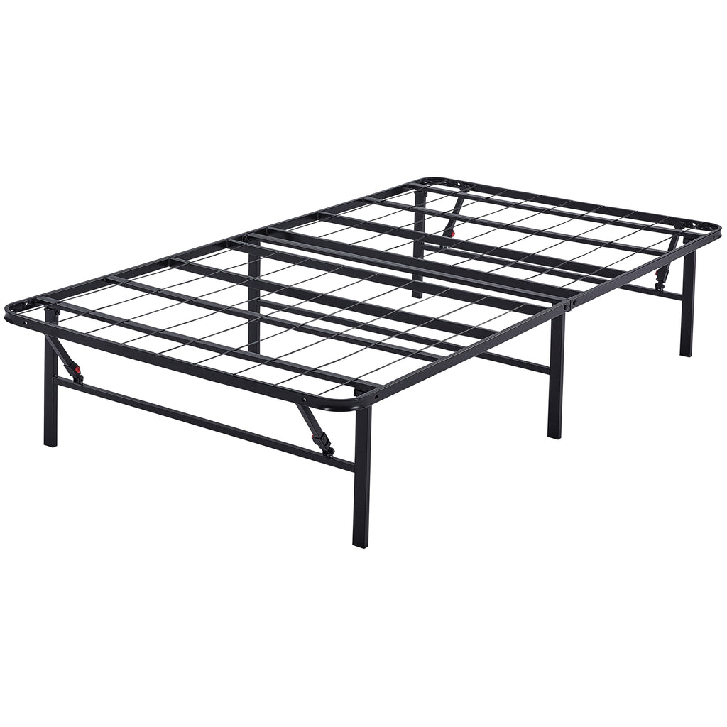 Mainstays High Profile Foldable Steel Bed Frame, Powder-coated Steel ...