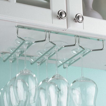 Mind Reader Rail Under Cabinet Wine Glass Stemware Rack Holder