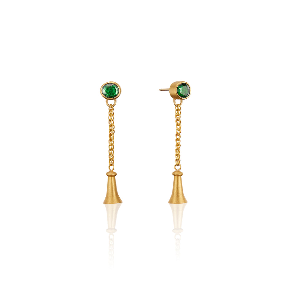 Golden Bluebells with Tsavorite Garnets--Earrings