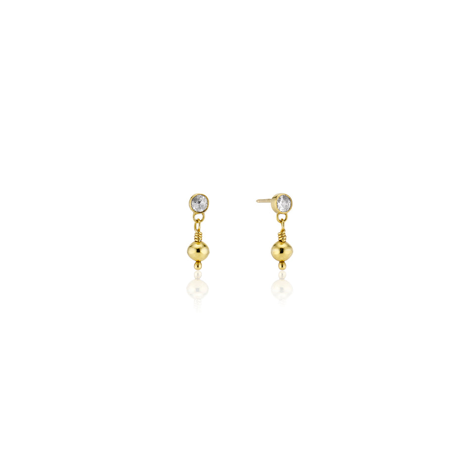 Rose Cut Diamond Earrings with 22 Karat Golden Orb Drops