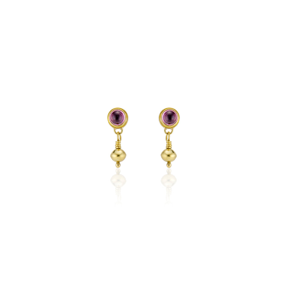 Golden Orbs with Pink Tourmalines--Earrings