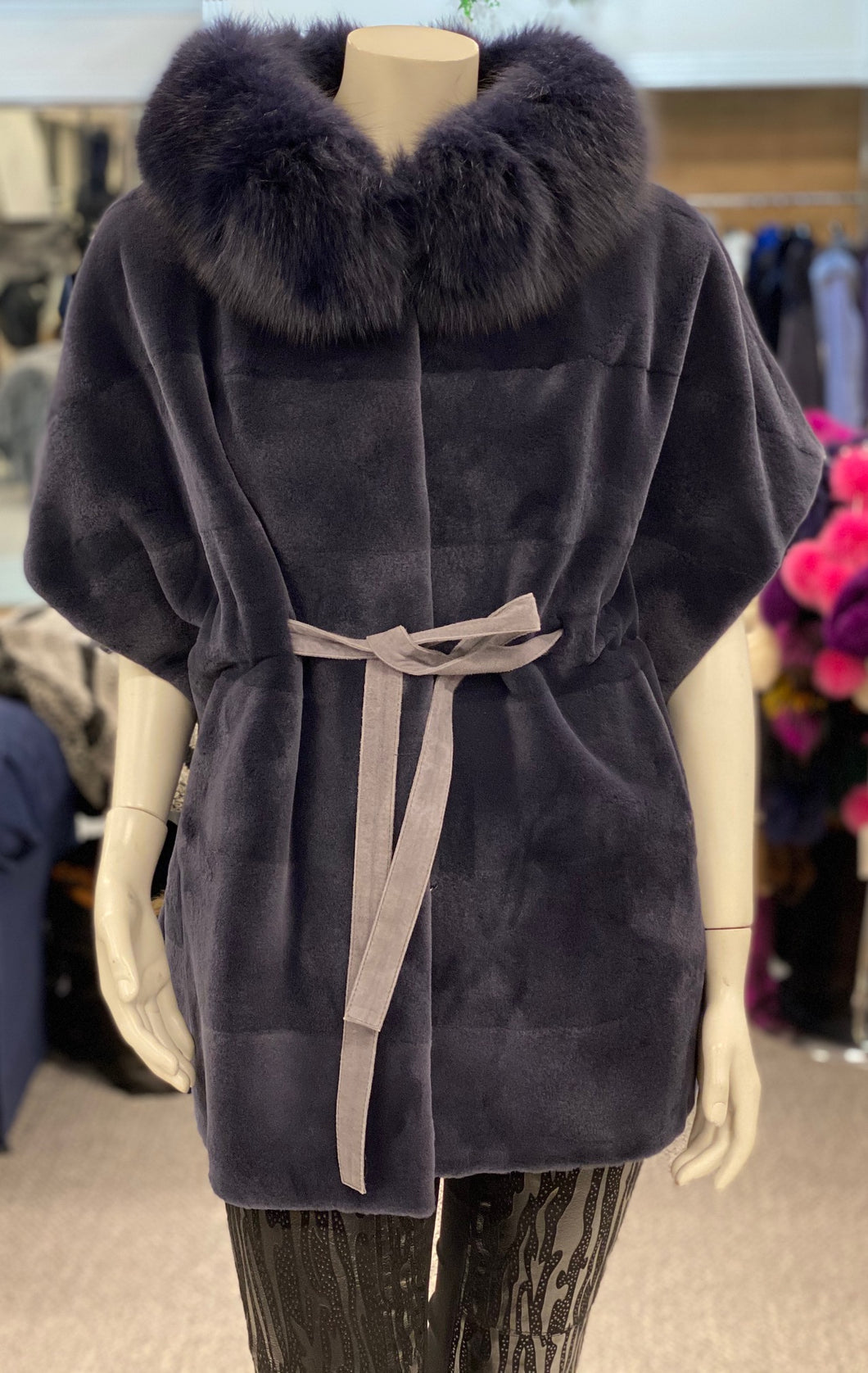 Sheared Mink with Fox Fur Cape