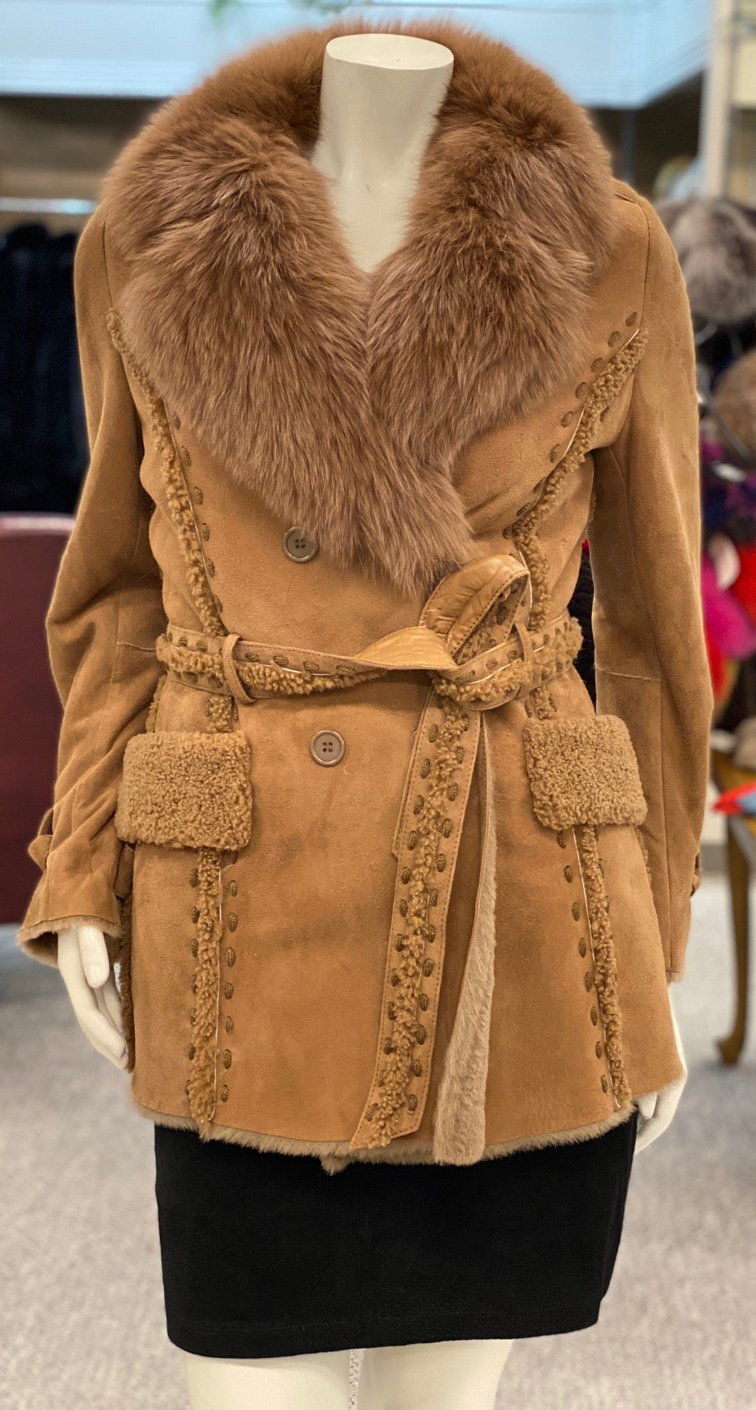 Shearling Fox Jacket with Belt