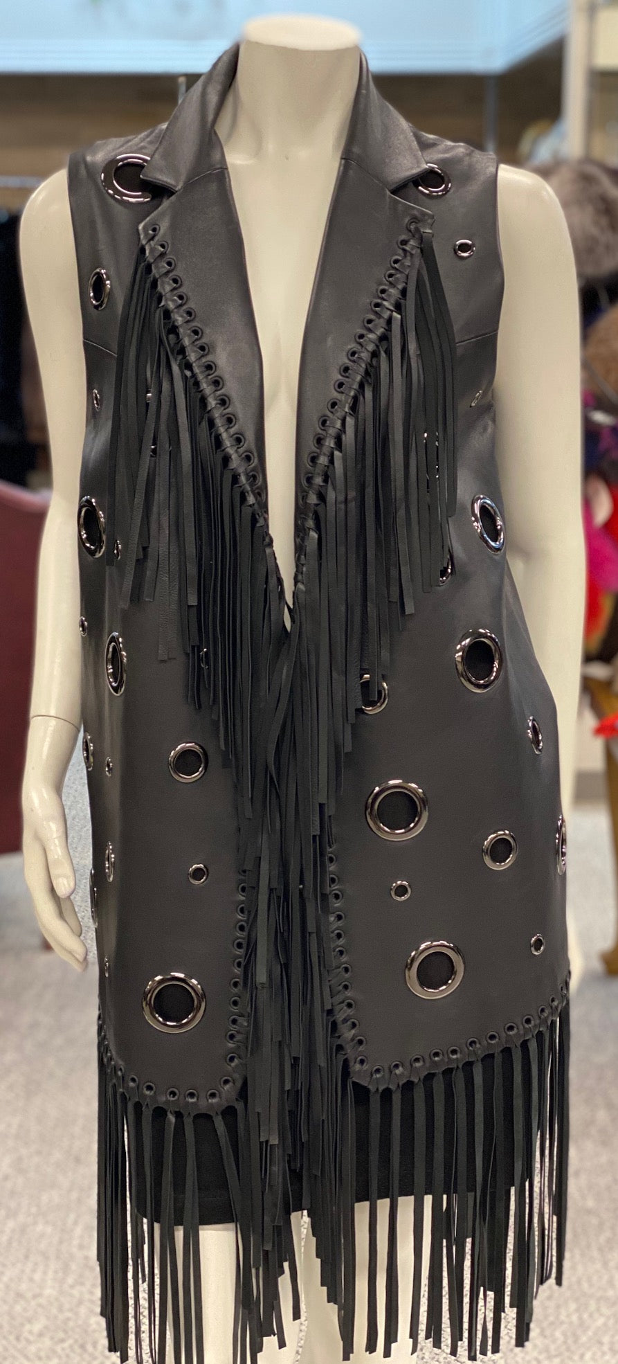 Lamb Skin Leather Vest with Circles and Fringes