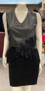 Washable Leather with Fringe Pullover Vest
