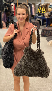 Never-Full Knitted Mink Handbag with Leather Straps