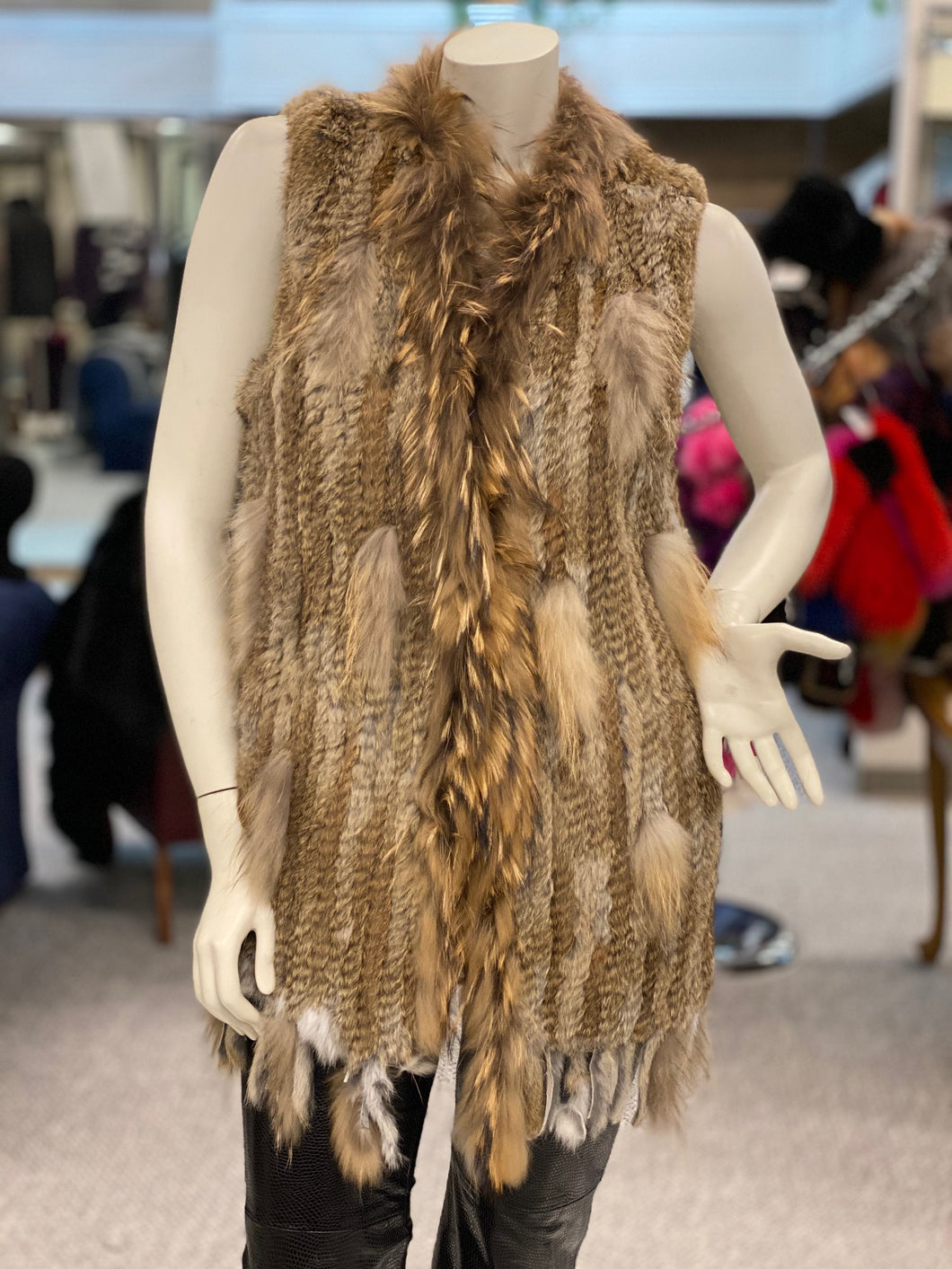 Knitted Rabbit and Raccoon Fur Vest (32519)