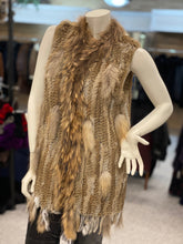 Load image into Gallery viewer, Knitted Rabbit and Raccoon Fur Vest (32519)