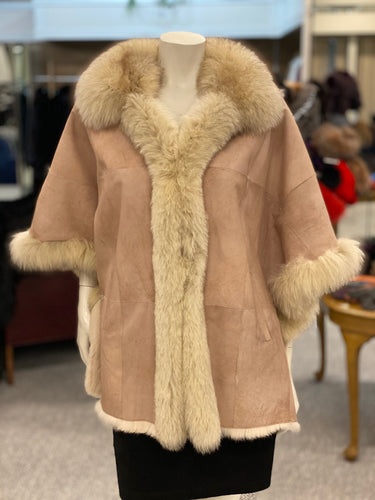 Double Faced Rabbit and Fox Fur Poncho