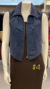 Quilted Sued Vest in Navy