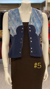 Denim Washable Suede Vest with Stretchy Back