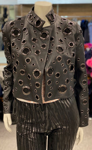 Leather Waist Jacket with Grommets