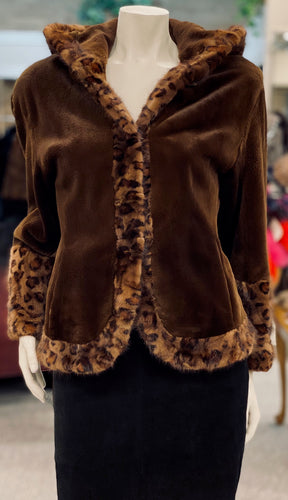 Brown Sheared Mink Stenciled Jacket