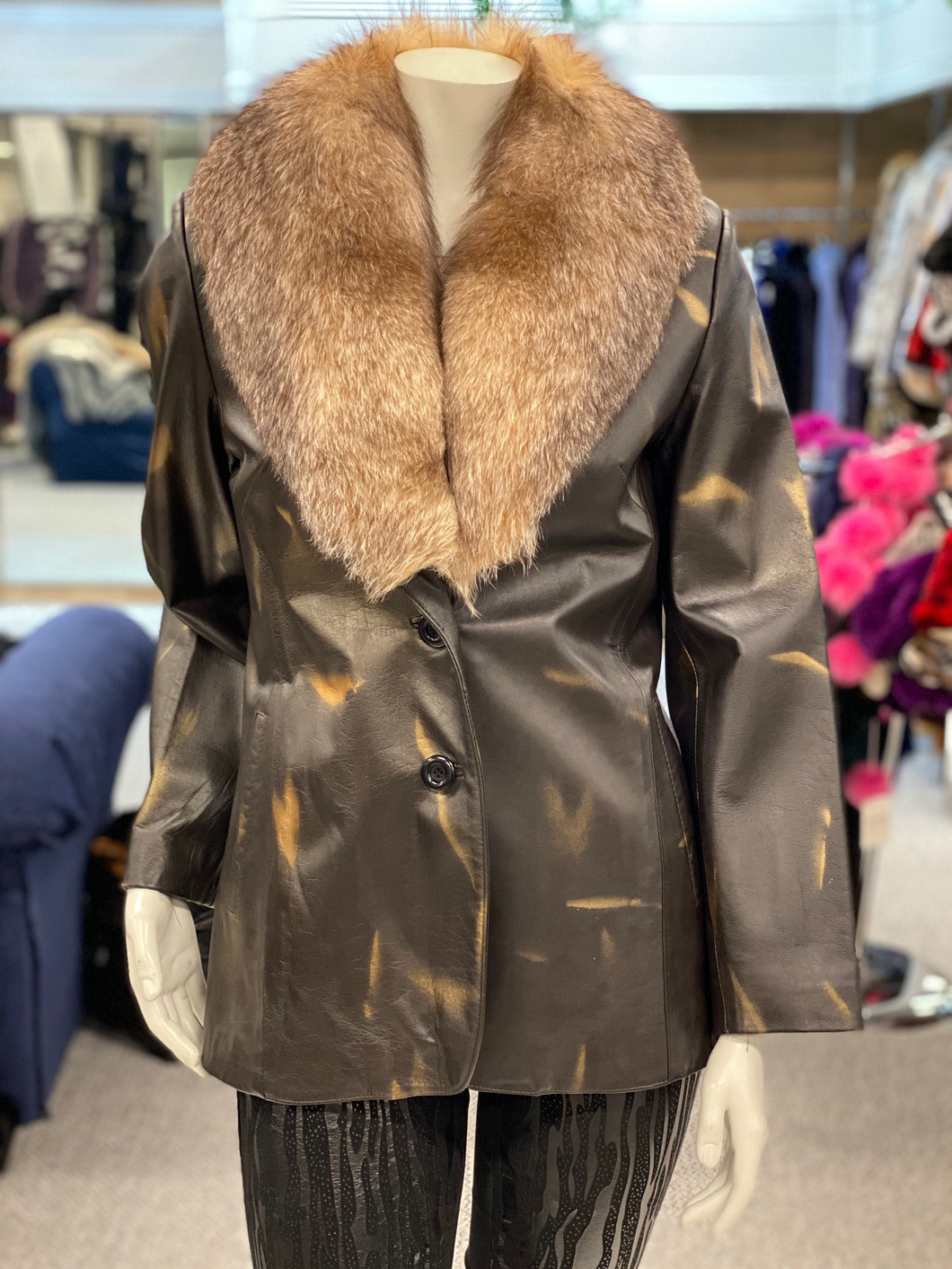 Brown Spray Painted Leather Jacket with Detachable Crystal Fox Collar