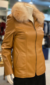 Camel Leather Jacket with Red Fox Collar