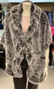 Knitted Rabbit Fur Shawl