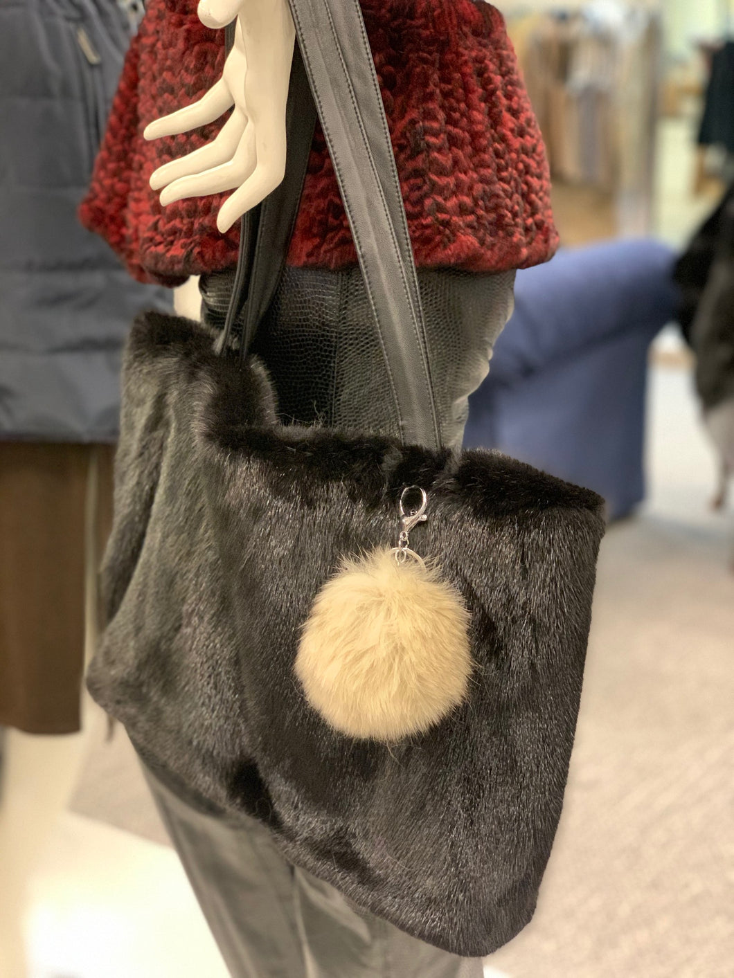 Fox Fur Pom Pom Key Chain
