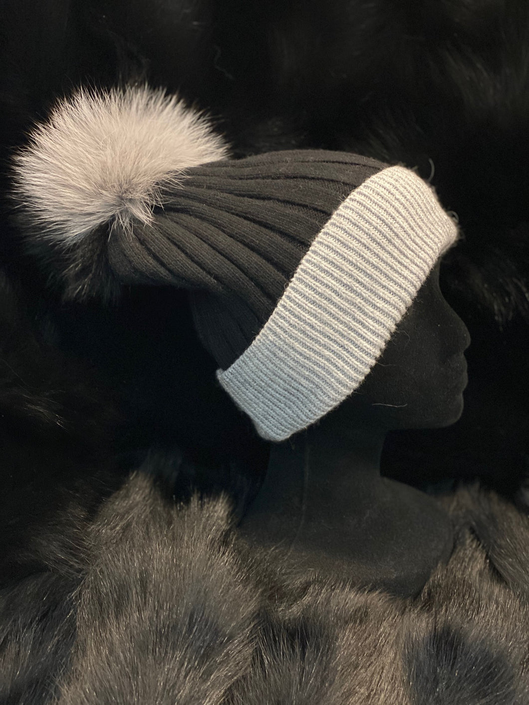 Cashmere Two Tone Beanie with Detachable Fox Fur Pom Poms