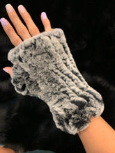 Load image into Gallery viewer, Knitted Rabbit Fingerless Fur Gloves