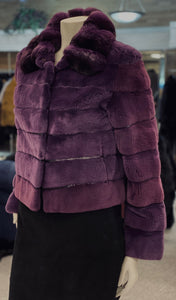 Purple Sheared Mink Chinchilla Jacket