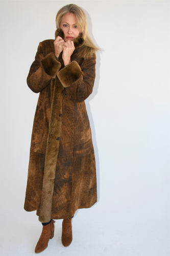 Distress Leather with Rabbit Coat